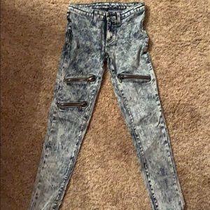 Pants - carmer zipper acid wash jeans
